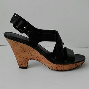 FRANCO SARTO | Black Leather Wedge Sandals